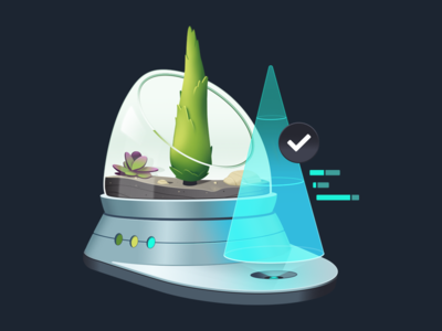 Test Production Ready Apps with Cypress development course code coding graphs hologram terrarium plant rock pine tree gradient illustration