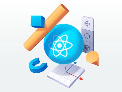 VR Applications using React 360 sketches developer gradient coding code course vr program menu shape 3d illustration