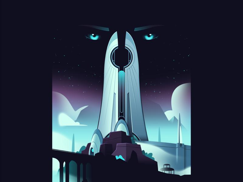 Cursed City gradient poster print illustration fanart destiny 2 destiny