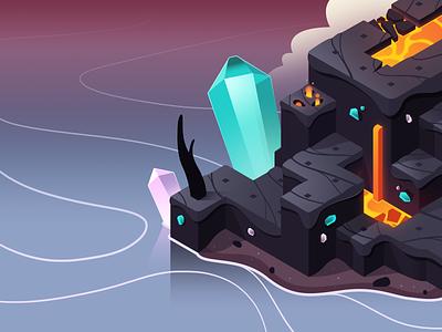 Dodo Peak | Volcano Style Frame burnt gems crystal lava volcano illustration concept art game art isometric