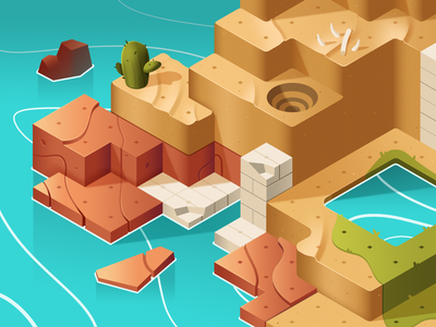 Dodo Peak | Desert Style Frame egyptian cactus oasis desert isometric illustration game art concept art