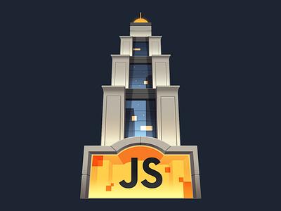 Advanced JavaScript Foundations gradient illustration night lobby hotel skyscraper building