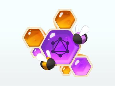 Designing GraphQL Schemas code bubble bee honeybee honeycomb gradient illustration