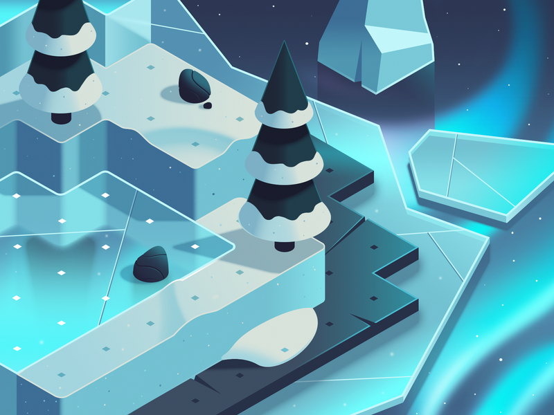 Dodo Peak | Winter Style Frame pine northern lights ice snow isometric illustration game art concept art