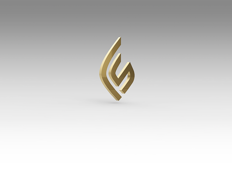 FIRESED Logo material metal fire seed 3d rendering fire seed letter modeling gold c4d logo