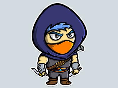 Game character mask cute assassin illustration cartoon sticker character game dagger