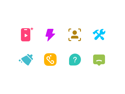 icon set for setting item video help question setting fix flash feedback clean cute color icon