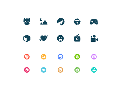 Category Icons for theme scenery movie video mv emoji love game comic beauty cat theme icon