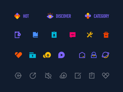 Icon set for video app shape glyph edit mute share fav upload home app home setting color category discover hot like app icon