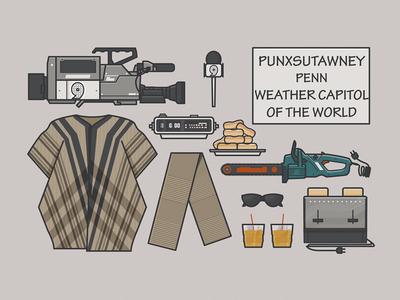 Groundhog Day - Essential items chainsaw alarm clock news camera phil vector film movie