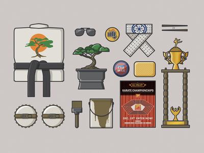 Karate Kid Essential Items 2d illustrator vector 1980s movies karate kid