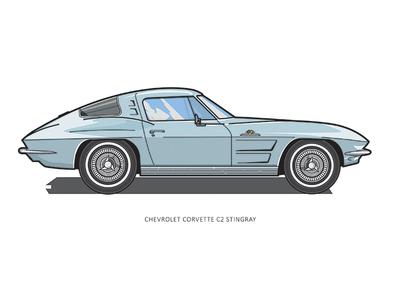 1963 Chevrolet Corvette C2 (Stingray) illustrator cars 2d vector