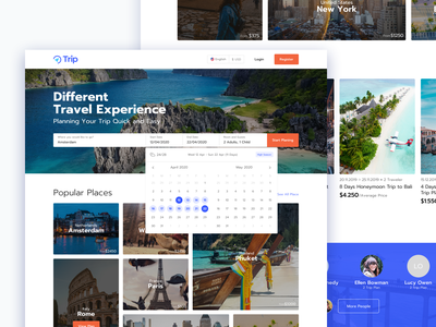 Trip planer web home page UI typography travel agency traveling card design booking trip card asian type travel experience travel app trip planner tripplanner trippy trips simple application ui