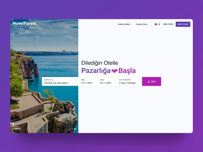 Hotelforex Landing Page user product search notification application simple branding design ui desktop design hotel booking landing hotel travel agency hotelforex travel app travel