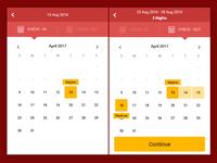 Hotel reservations mobile site calendar