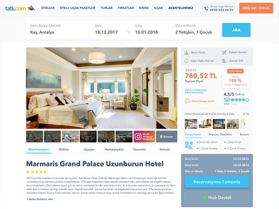 Tatil.com hotel detail page tatilcom travel theme slide site room resort reservation hotel carousel booking