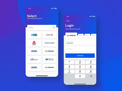 Login Your Bank Account blue banking web design wallet typography product design print mobile illustration fintech finances credit card branding animation