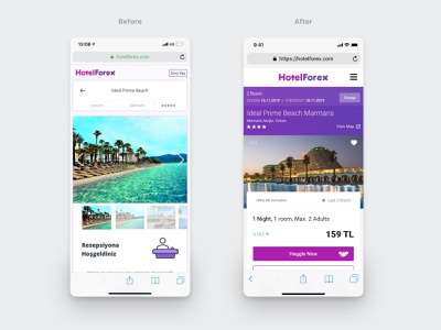 Hotelforex mobile hotel details improvements hotel mobile app holidays purple hotels hotel booking travel travel app before and after before after improvement sports friend simple notification icon search profile user application ui