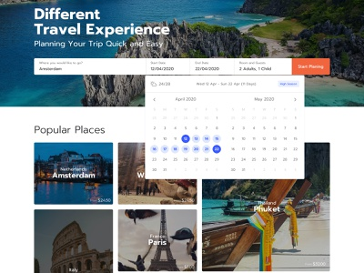 Travel planner home date picker travel app website places weather holiday destination paris planner traveling learning product simple notification icon search profile user application ui