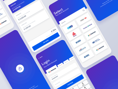 Login & Pay Bank Account mobile app cards shadow search bar iphonex login page mobile ui fintech bitcoin banking contact follow simple notification icon search profile user application ui