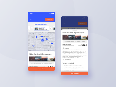 Trip Planner Mobile App - Service details people trip map maps amsterdam details page datepicker holidays product user search icon notification service hotel app application profile ui trip app trip planner trip