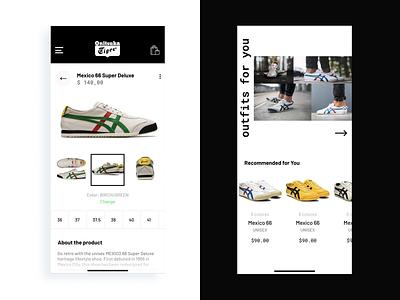 Onitsuka Tiger - Mexico 66 branding ux ui app app concept uidesign user interface