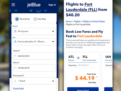 Jetblue Mobile mobile app design web design uidesign app concept user interface