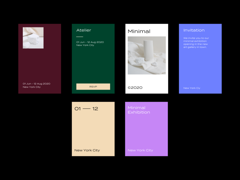 Exhibition Invitation Cards invitation typography photography color minimal ui layout branding design branding design
