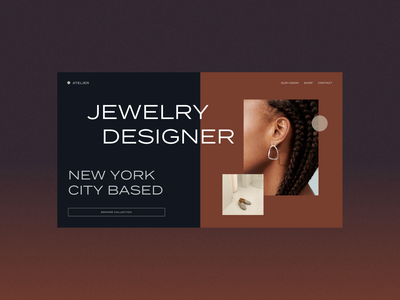 Jewelry designer web layout jewelry minimalistic web layout webdesign businesscards black color branding design
