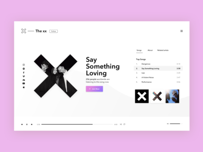 Music Player minimal the xx web  design web interface music player ui