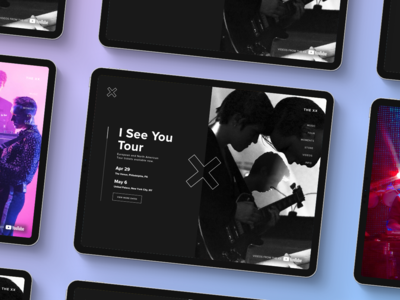 Music tour homepage music tour black purple the xx wedesign ipad mobile ui music