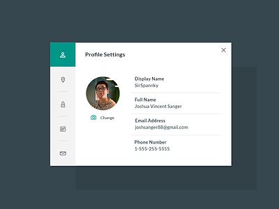 DailyUI 007 - User Settings dailyui ux ui profile settings