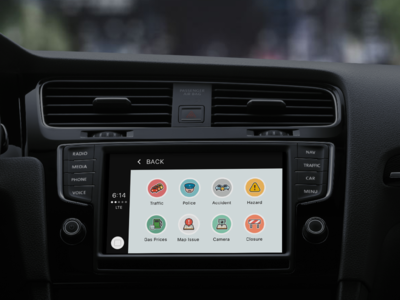 waze for apple carplay by carlos rivera dribbble. Black Bedroom Furniture Sets. Home Design Ideas