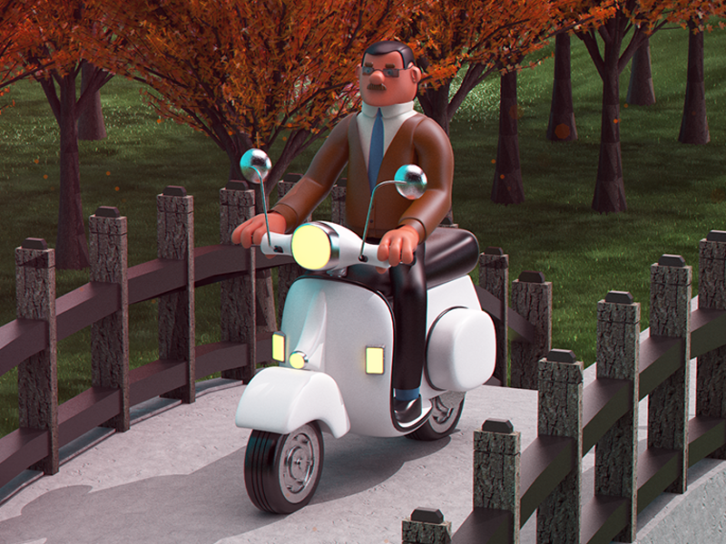 Vespa graphicdesign render 3d vespa characterdesign illustration