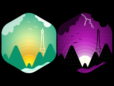 Mountain View travel river icons rain moon sun paris tower mountains weather illustration clipart