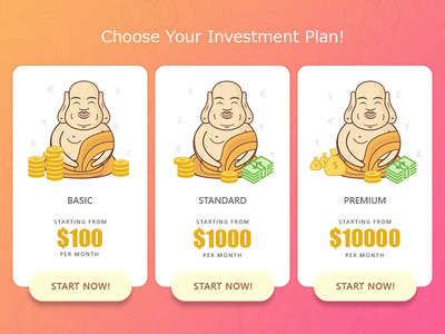 Investment Plans illustration product design web design pricing table laughing buddha money plans pricing investment plans