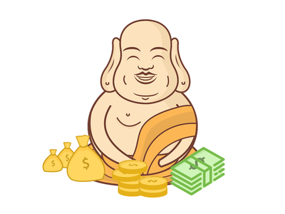 Laughing Buddha money illustration icon