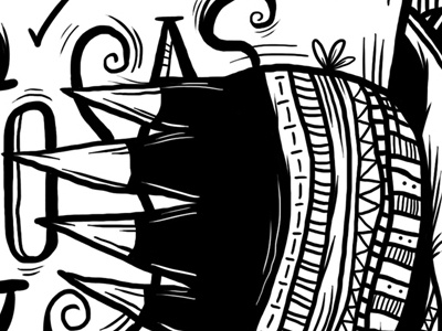Editorial Illustration for LaCabeza Fanzine pinto ink illustration detail