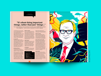 EasyJet Traveller Magazine - Editorial Illustration regus corporate office business travel illustration portrait spread color editorial