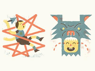 Children's Stories  illustration fable pinocchio wolf letterpress texture