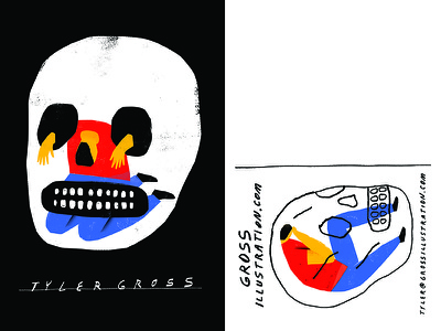 New Postcards texture color mail postcard skull illustration