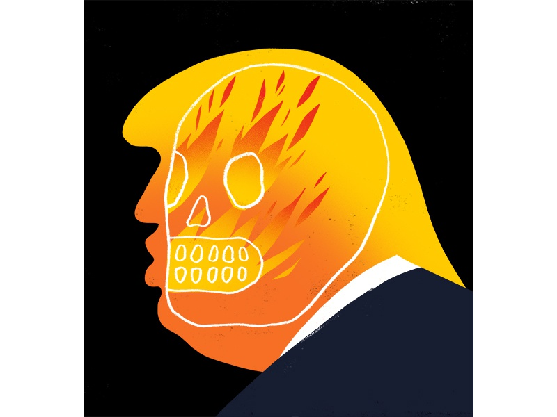Trump 1 dead skull illustration trump