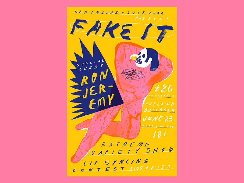 Fake It: Ron Jeremy gig poster poster color texture illustration