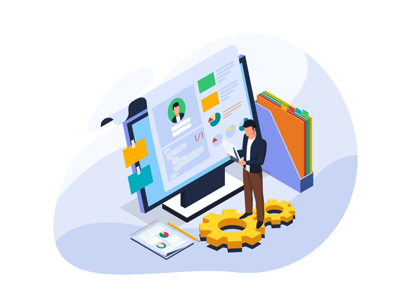 Check the candidate's resume and information data office app business coworker human resource vector illustration isometric resume cv candidate check web character landing page homepage website dribbble ui creative artwork