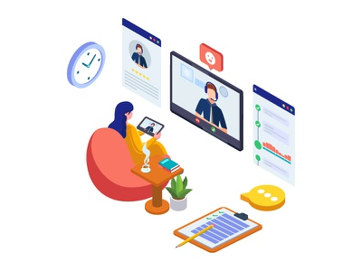 Call center service illustration concept application app video call business online nework landing page web template isometric ui creative service team support call center homepage website dribbble vector illustration