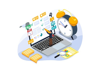 Checking list illustration concept. schedule task technology todo list template ui isometric homepage website dribbble creative applicaiton application management time businessman checklist checking vector illustration