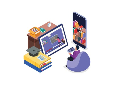 E-Learning activity illustration concept student network video call technology teaching support watching isometric homepage website dribbble creative branding ui design streaming app video streaming live illustration