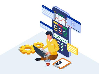 Businessman developing digital marketing strategies. developer advertising design illustration website worker vector target service rate financial strategy creative businessman dribbble ui branding artwork analysis app