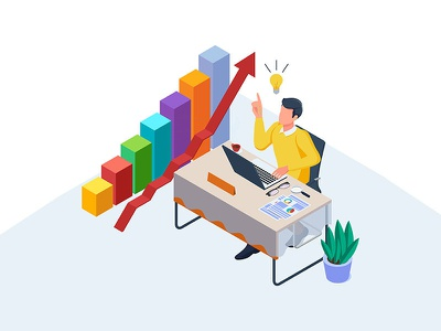 Businessman with an idea illustration worker creative target strategy infographic character illustrations vectors kit element website dribbble ui design vector illustration idea businessman business app