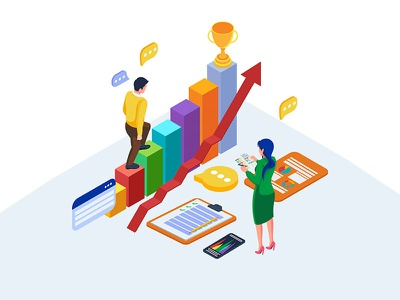 Business strategy illustration concept coworker business worker teamwork target strategy element infographic isometric idea web character app artwork ui dribbble creative design vector illustration